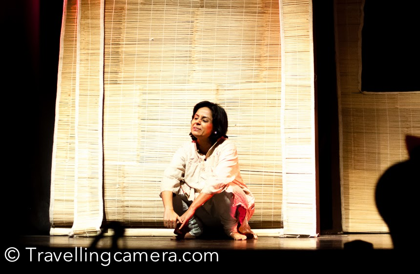 It was around one year that I had not visited National School of Drama. There was time, when I used to visit this wonderful place in Delhi. Over the period of time, I made lot of friends at NSD. I am huge fan of these theatre artists of NSD, who keep me updated about plays happening in Delhi. One of my theatre friend sent me an sms to share that some great plays are happening during Bharat Rang Mahotsav. Finally I went there during one of the evenings and got a chance to watch Naseeruddin Shah's play Kambakht Bilkul Aurat. This Photo Journey shares some of the photographs clicked at Kamani Auditorium.This play has 3 different stories and solo performances of Manoj Pahwa, Seema Pahwa & Lovleen Mishra.All three actors were brilliant and stories by Ismat Chughtai made the overall show unmatchable. A brilliant set of actors, great story and direction by Naseeruddin Shah - I am sure that you can imagine the level of this play. And of course, all plays selected for Bharat Rang Mahotsav have their own excellence levels.First story was a solo performance by Manoj Pahwa. Manoj Pahwa  is an Indian film and television actor who is noted for his role as Bhatia in the comedy series Office Office. He was in 45 films as a character actor including 7½ Phere (2005), Being Cyrus (2005), Singh Is Kinng (2008), Dabangg 2 (2012) and Jolly LLB  (2013).Many of the visitors at Kamani thought that Naseeruddin Shah  is also playing a role in this play, but Naseer is director of this play. Loveleen Mishra is best known for her portrayal of Preeti aka Chhutki in India's first soap, Humlog, which began in 1984 and ended the following year.A college student at the time, Mishra was handpicked to play the avant garde young woman from a middle-class family who aspired to be a doctor. A brilliant performer, Mishra continued working in other TV serials, both as an actor and writer. But she is best known for her roles as an actress and writer in Bollywood films Yuva, Godmother and City of Joy.Every year, Bharat Rang Mahotsav bring this opportunity to see some of the best theatre plays from different parts of the world.After watching the play, I headed towards National School of Drama campus. Campus is decorated during Bharat Rang Mahotsav and this year, Theatre Bazar was setup separately. Very well planned festival !Just after the entry a beautiful seating place was installed under a huge tree. This area was surrounded by colorful walls with photographs of artists who performed in Bharat Rang Mahotsav 2015.I was super impressed to see a Mungfali wala getting equal place amongst the fancy food stalls by some of the popular food-chains in Delhi. I also bought some mungfali from mr Chote lal.During Bharat Rang Mahotsav you can see some of the brilliant bollywood actors who belongs to core Indian Theatre. Above is one of the photographs of Mr Raghubir Yadav. This was clicked from a distance. There were many other known faces around, but I somehow I didn't feel like picking up my camera and click their photigraphs. Many times, such acts propagate others to shoot flashes on these celebrities when they want to enjoy their time with like minded artists from different parts of the world.