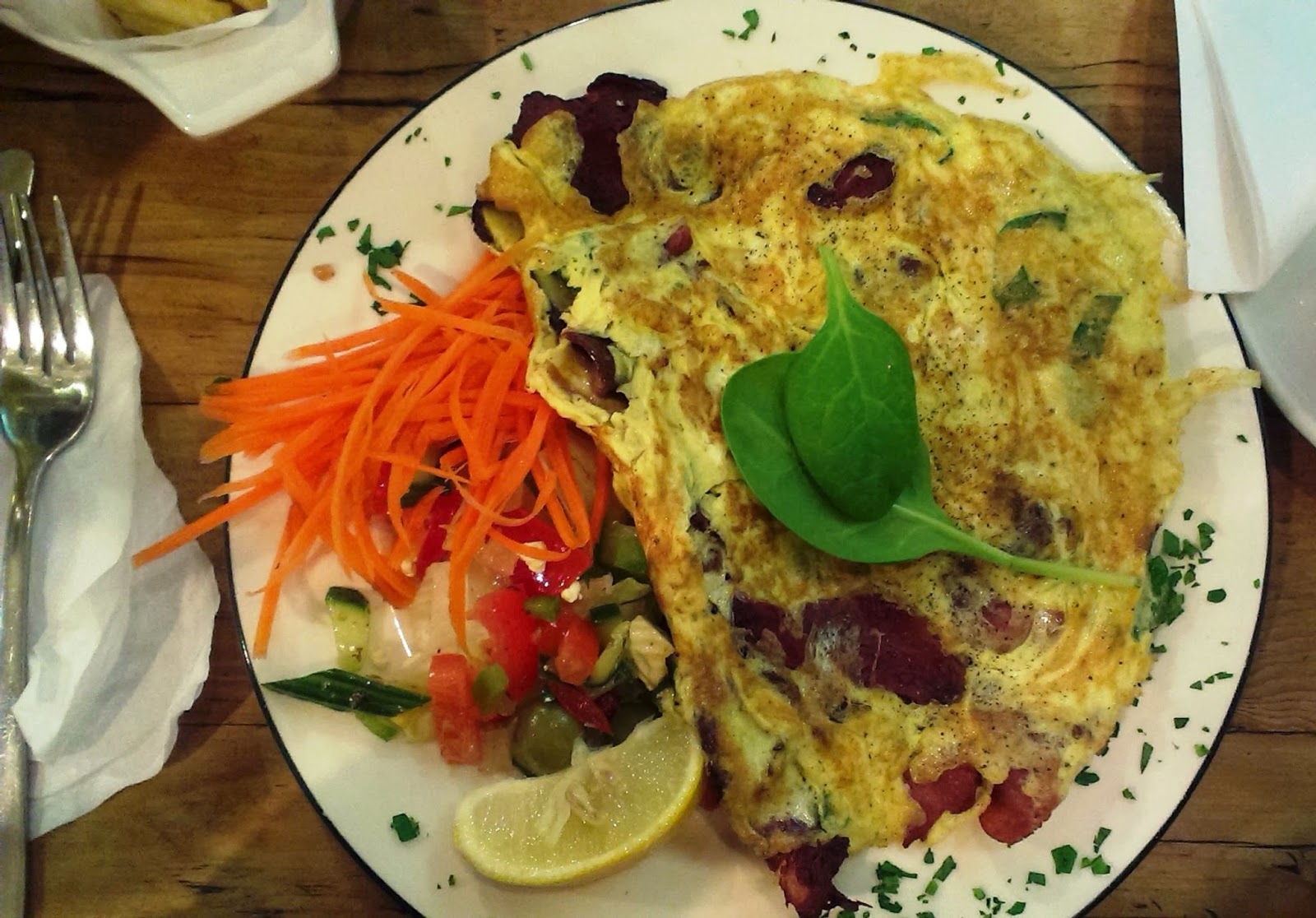 Spinach and Bacon Omelette