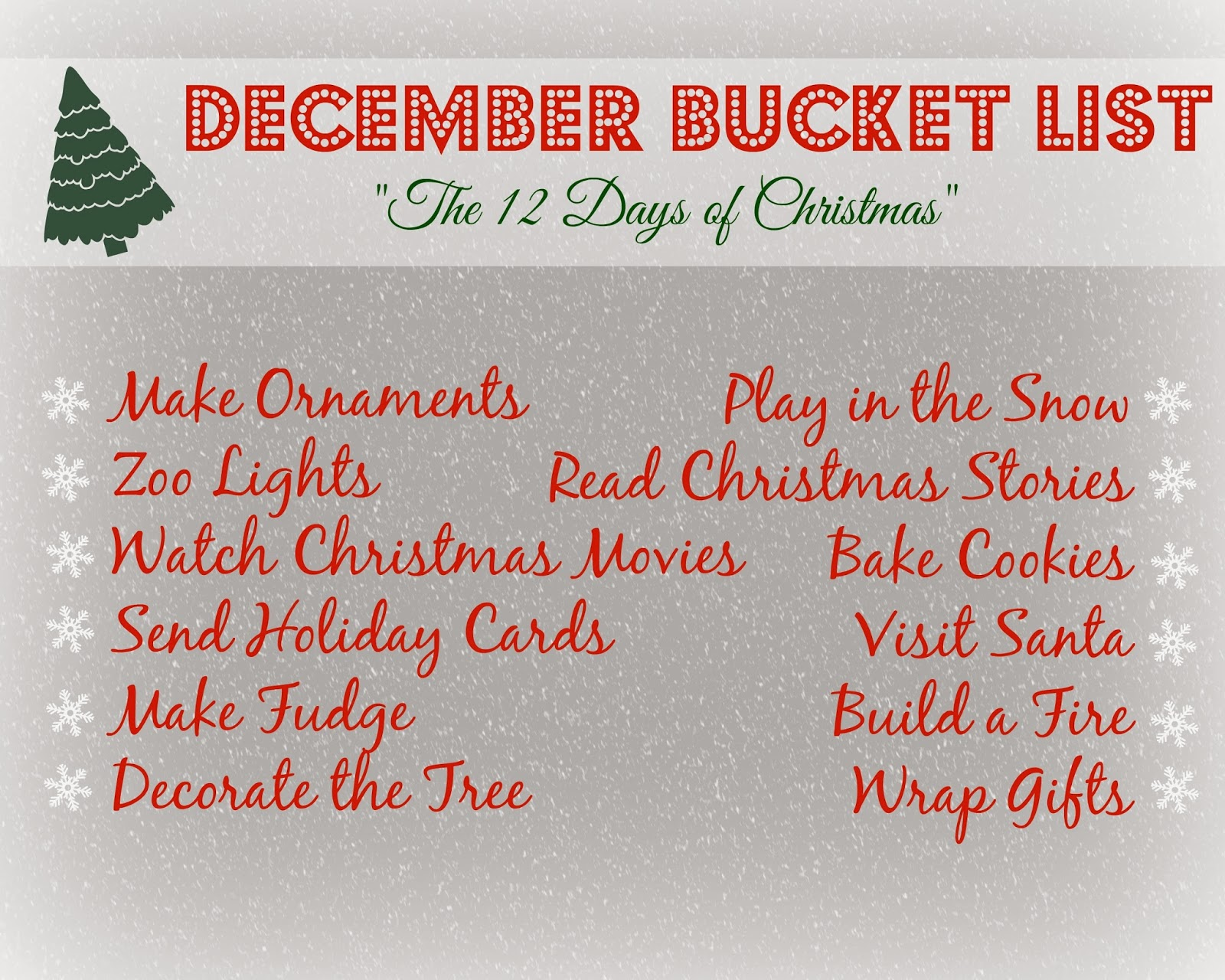 what would you put on your december bucket list