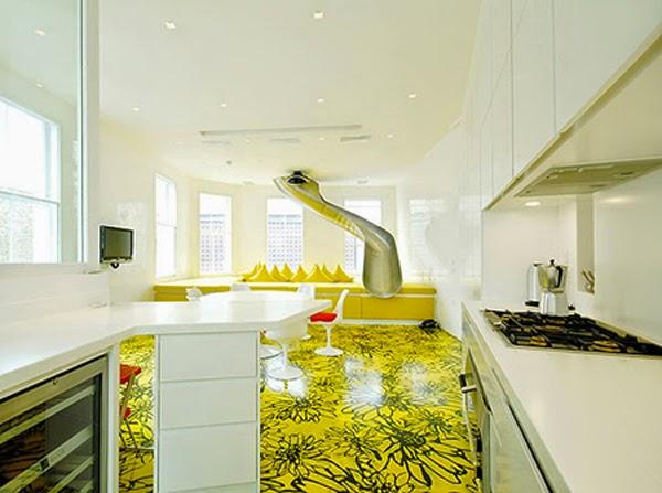 plancher jaune noir
