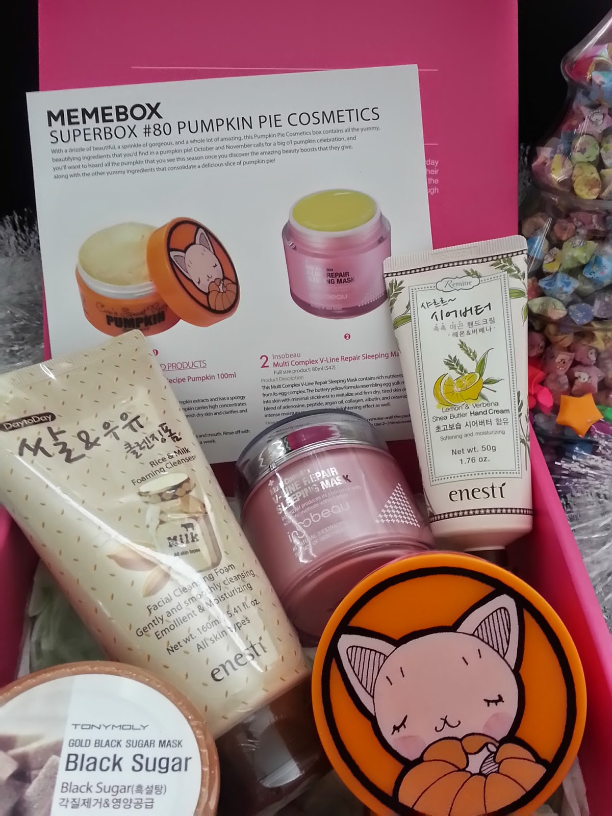 Memebox Pumpkin Pie Cosmetics goodies