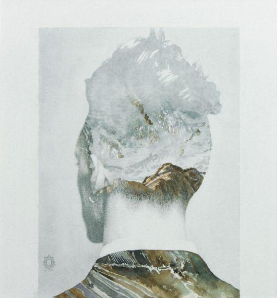 Oriol Angrill Jorda pinturas retratos e paisagens dupla exposição misturadas