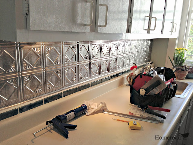 tin ceiling backsplash in kitchen www.homeroad.net