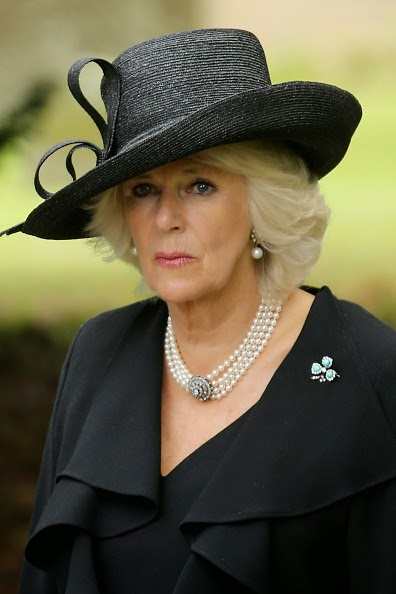 Camilla, The Duchess of Cornwall, attends the funeral of Deborah, Dowager Duchess of Devonshire at St Peters Church, Edensor, on 02.10.2014 in Chatsworth, England.