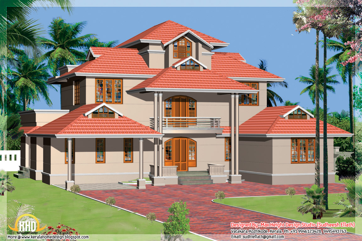 Kerala style beautiful 3d home designs for Home plans kerala