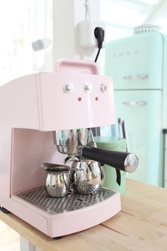 pink coffe machine