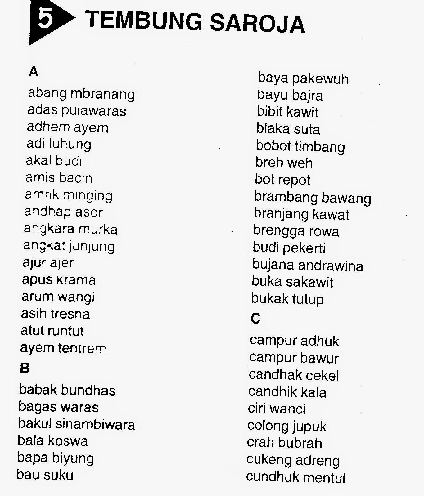 Tembung Ukara Wangsalan Bahasa Jawa Wahid Mahmudi