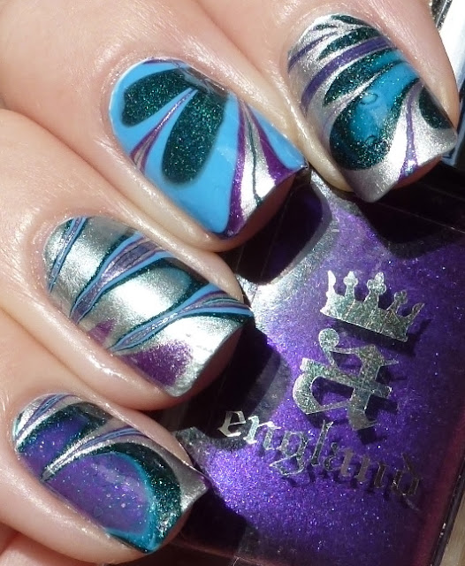 Water Marble nails, a-england Avalon, Excalibur, Sait George, OPI No Room For The Blues