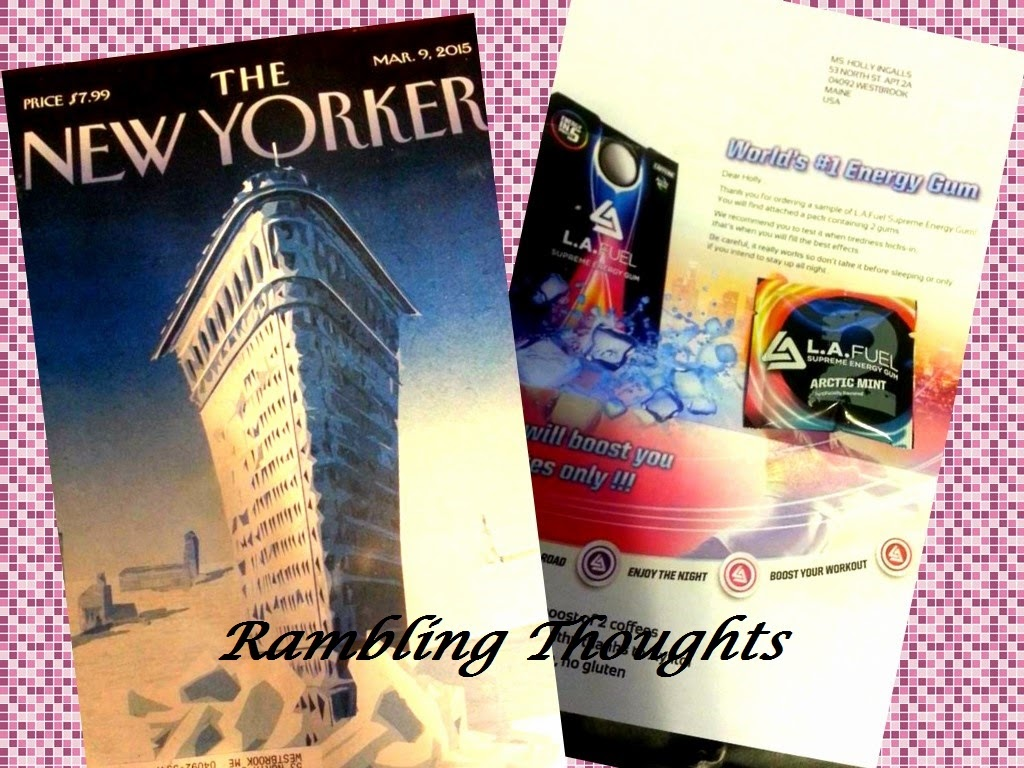 Rambling Thoughts' mail freebies: issue of The New Yorker and a sample of L.A. Fuel Gum