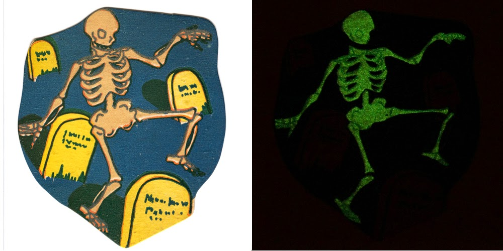 Vintage Halloween collectible card printed with glow-in-the-dark ink shown in light (left) and dancing bones in dark (right)