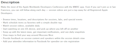 Apple's WWDC 2013 iOS App Description