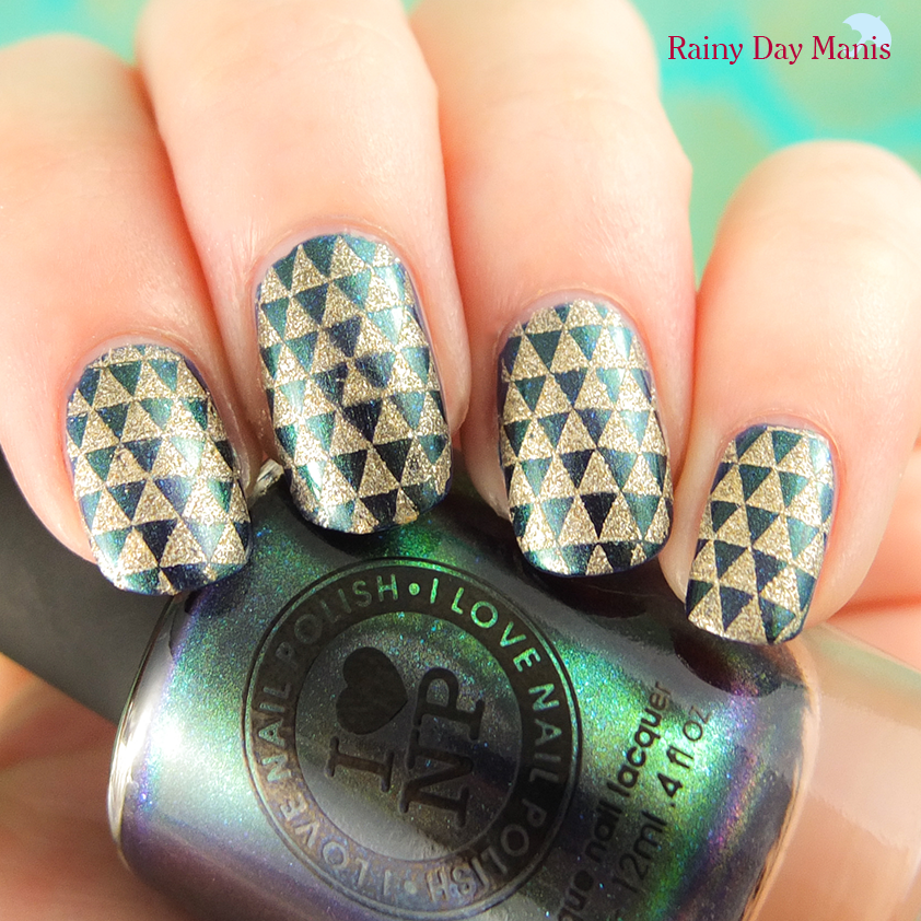 ILNP Sweet Serenade swatch with OPI Love.Angel.Music.Baby. stamping