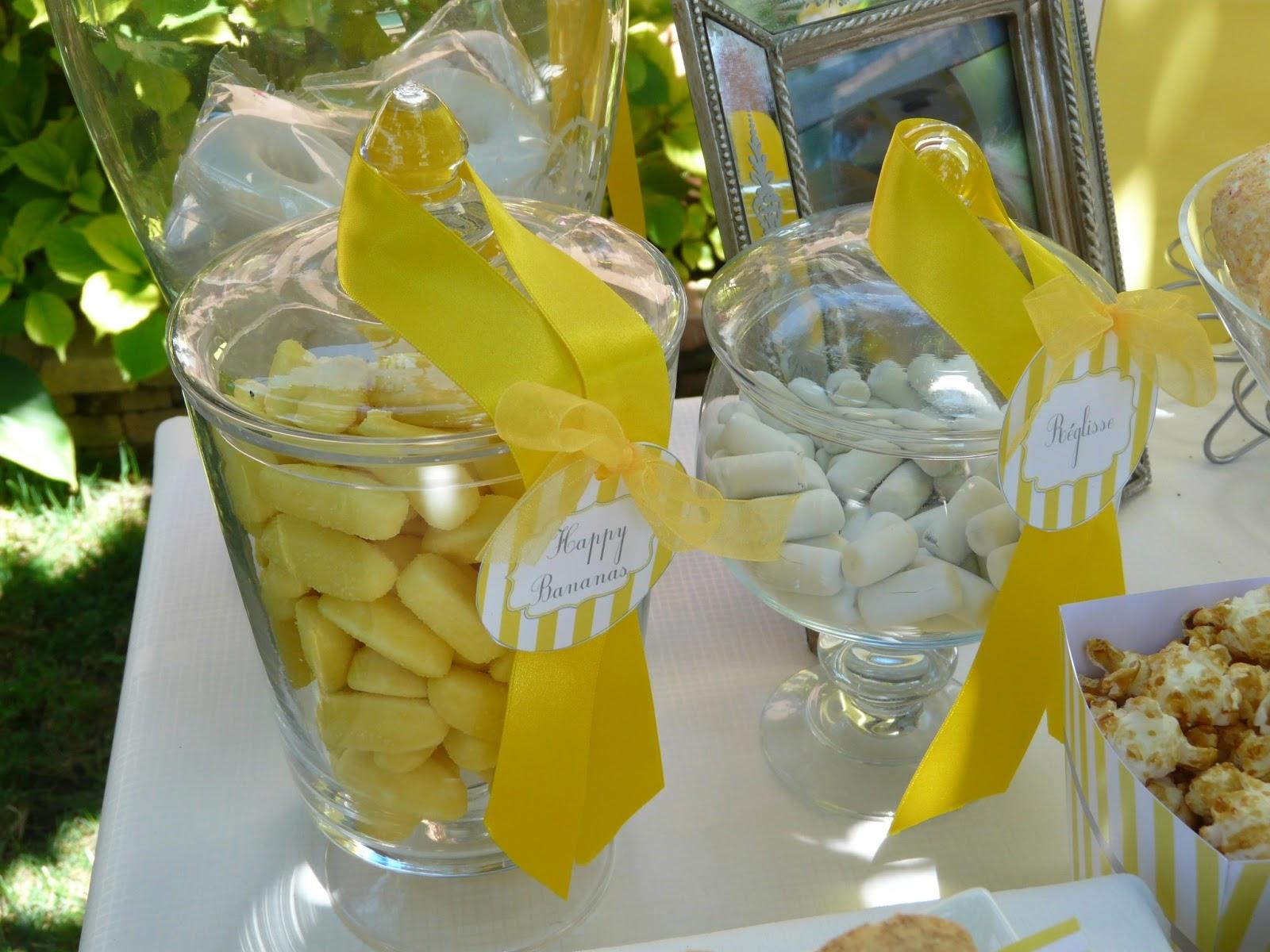 bonbonnières ruban et bonbons jaunes