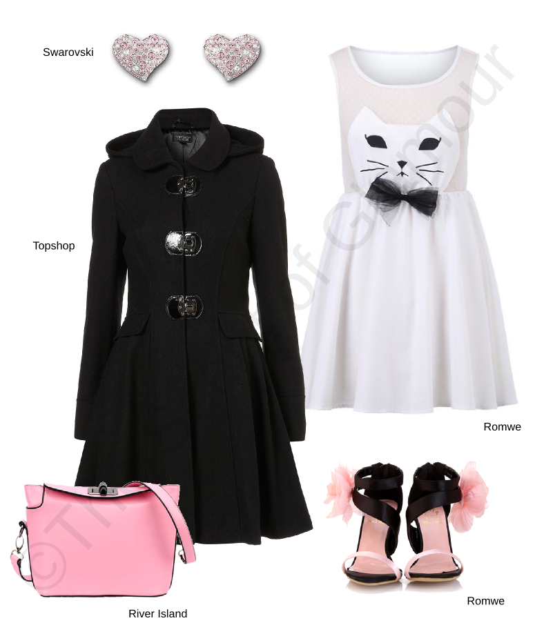 romwe dress, romwe shoes, topshop coat, river island pink bag, swarovski