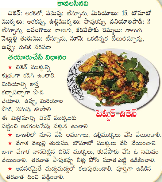 Healthy food recipes pepper chicken recipe in telugu pepper chicken recipe in telugu forumfinder