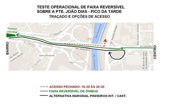 Faixa reversível exclusiva para ônibus na Ponte João Dias