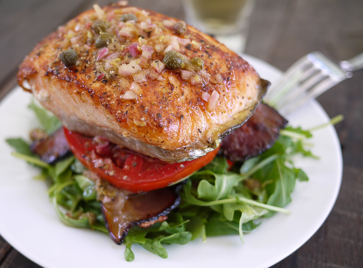 Salmon BLT Stacks with Lemon Caper Vinaigrette