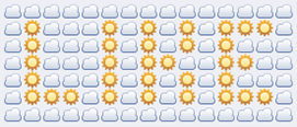 Like emoticon art made of sun and clouds