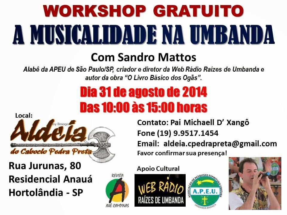 Workshop Gratuito sobre Músicalidade Umbanda em Hortolândia