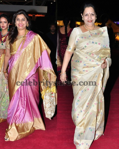 Pinky Reddy and Indira in Silk Saris