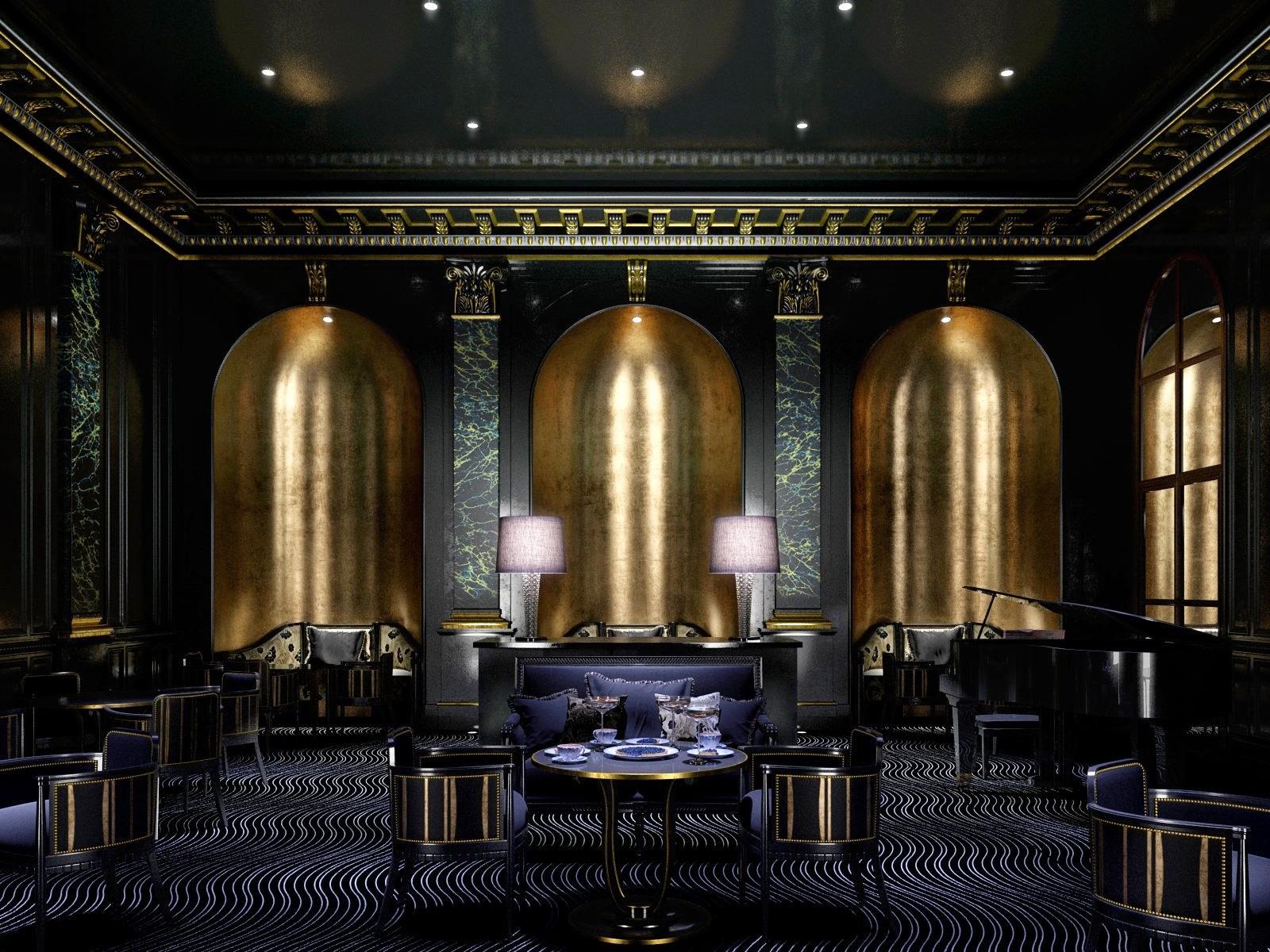 Making of golden luxury art deco interior cg tutorial for Interior design art