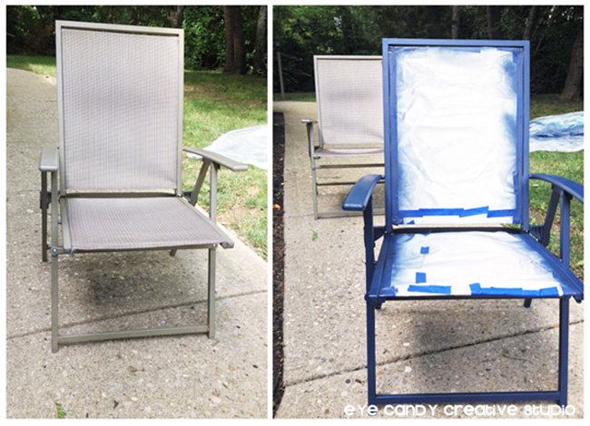 patio chair makeover, blue patio chair, spray paint patio furniture