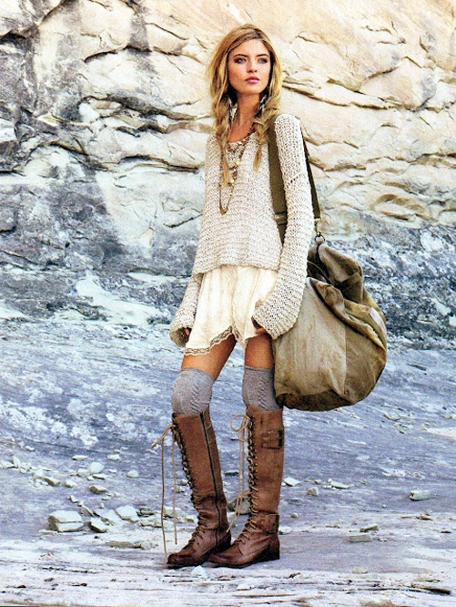 slouchy sweater lace up boots socks bohemian fall fashion style png