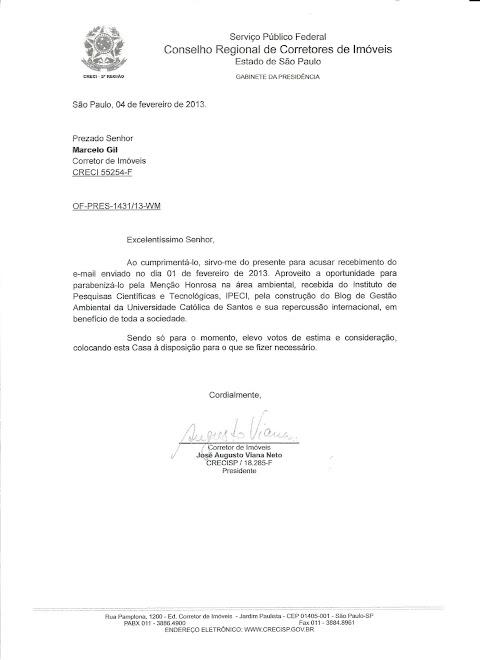 CARTA DE RECONHECIMENTO ENCAMINHADA PELO PRESIDENTE DO CRECI/SP PARA MARCELO GIL / 2013