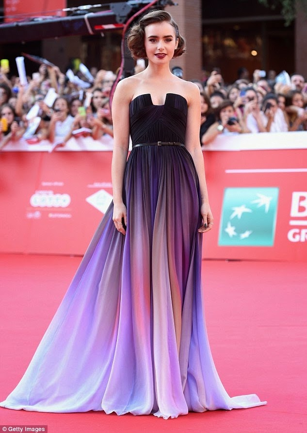 Ultra Tendencias: Lily Collins de Elie Saab Couture en el estreno de ...