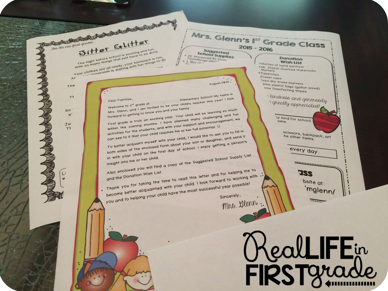 Real life in first grade july 2015 summer letter supply list and jitter glitter for back to school altavistaventures Gallery
