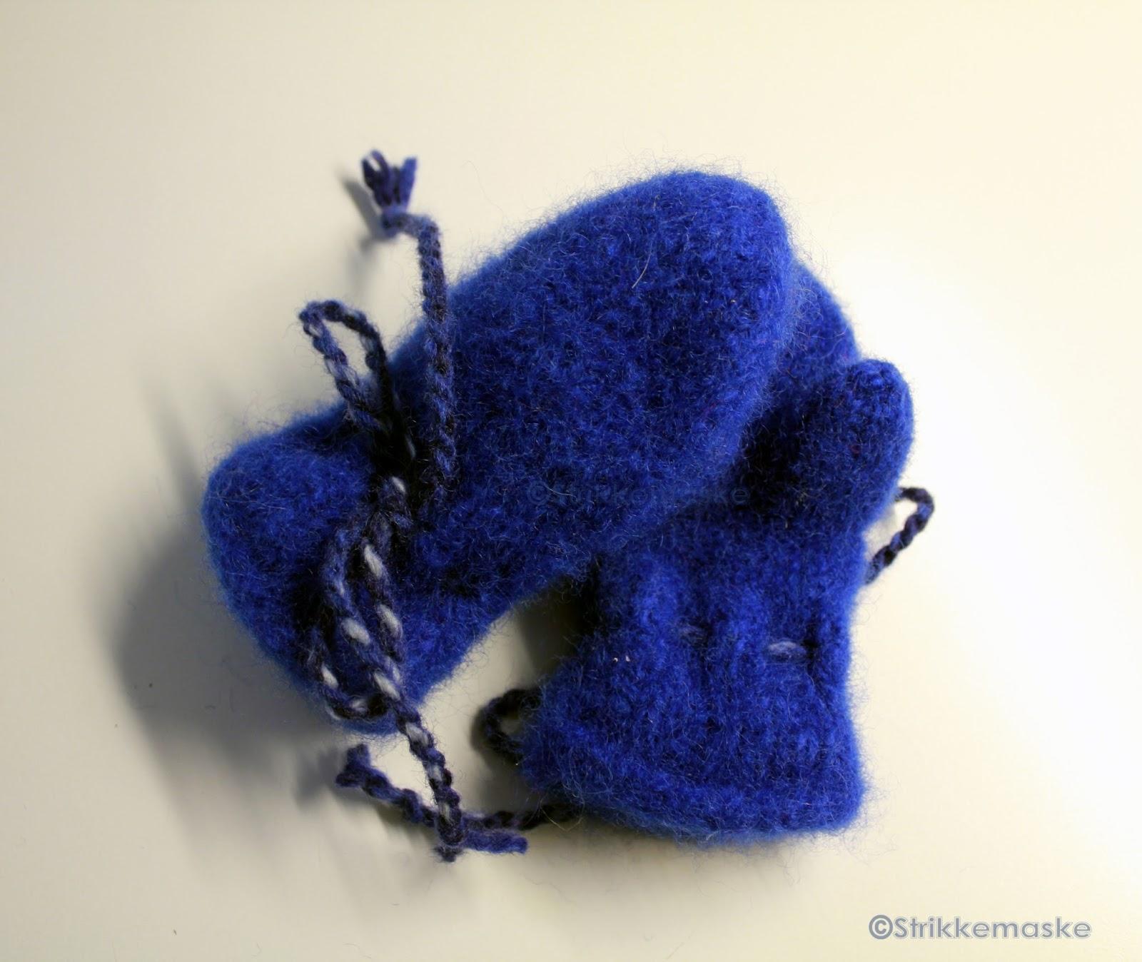 Blå tova votter