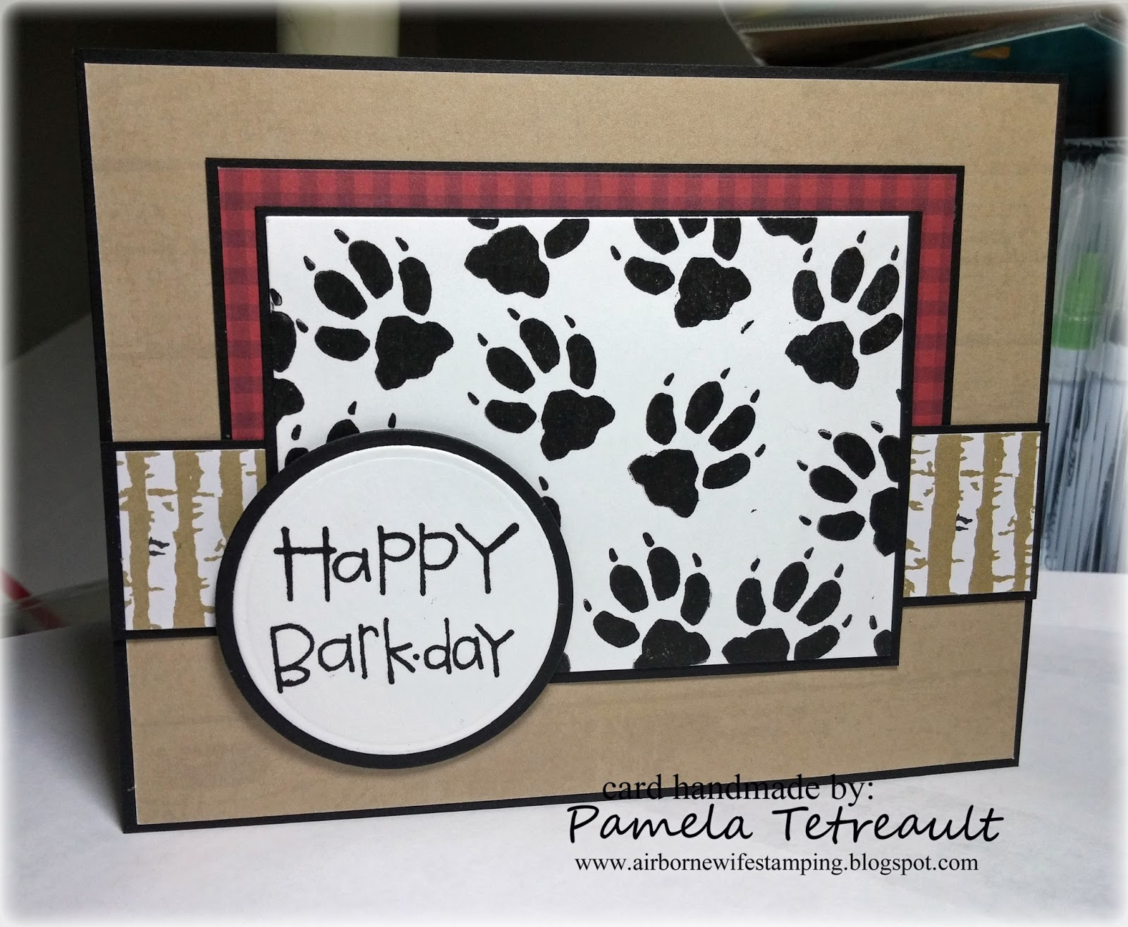 HAPPY BARKDAY Happy Birthday Tupelo Dog Paw Print Card