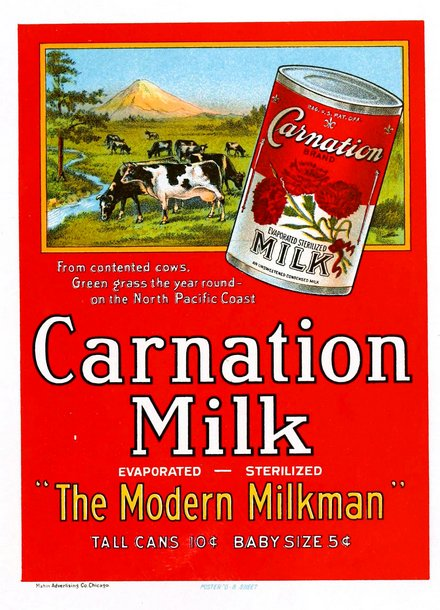 advertising, food, vintage, vintage posters, free download, graphic design, retro prints, classic posters, Carnation Milk, The Modern Milkman - Vintage Food Advertising Poster