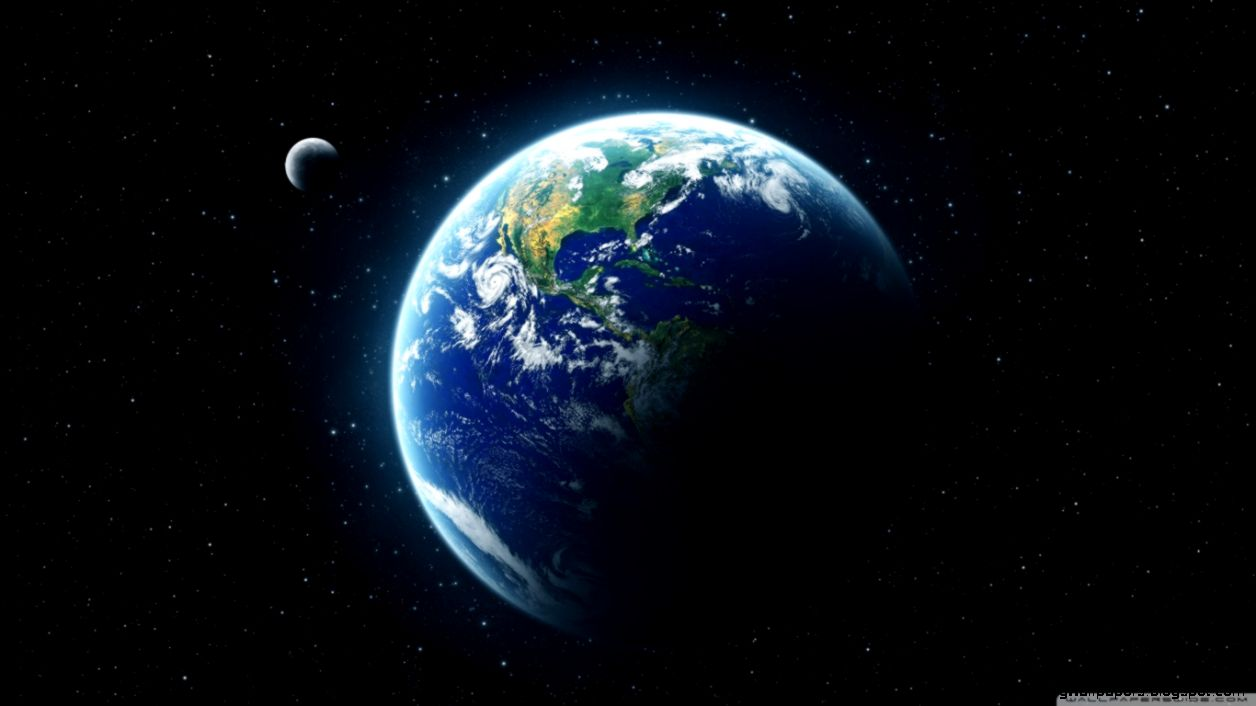 Earth And Moon From Space HD desktop wallpaper  High Definition