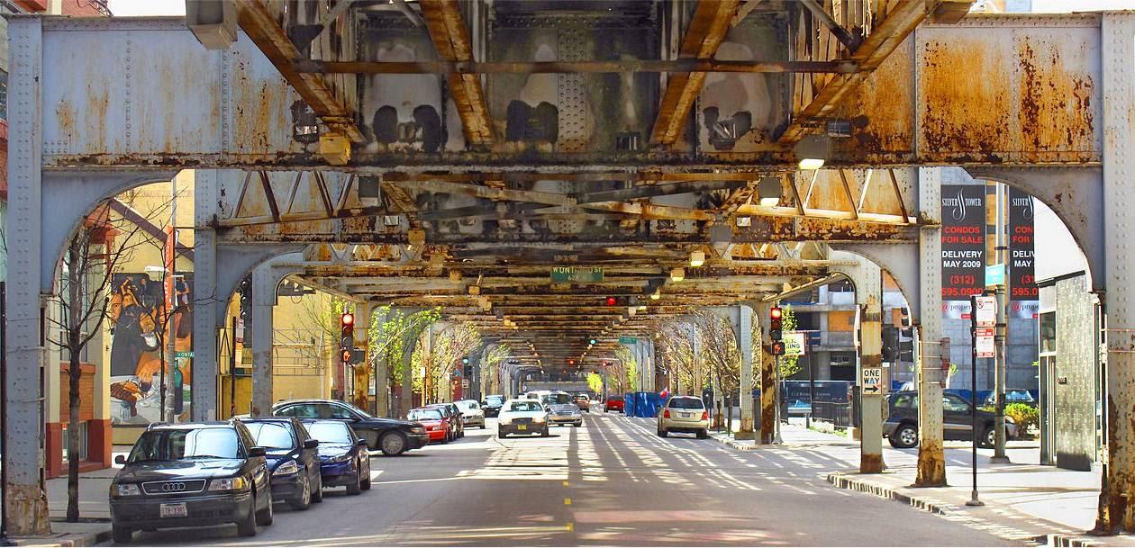 Under elevated metro rail tracks
