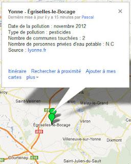 Pollution de l'eau à Egriselles-le-Bocage et Cornant