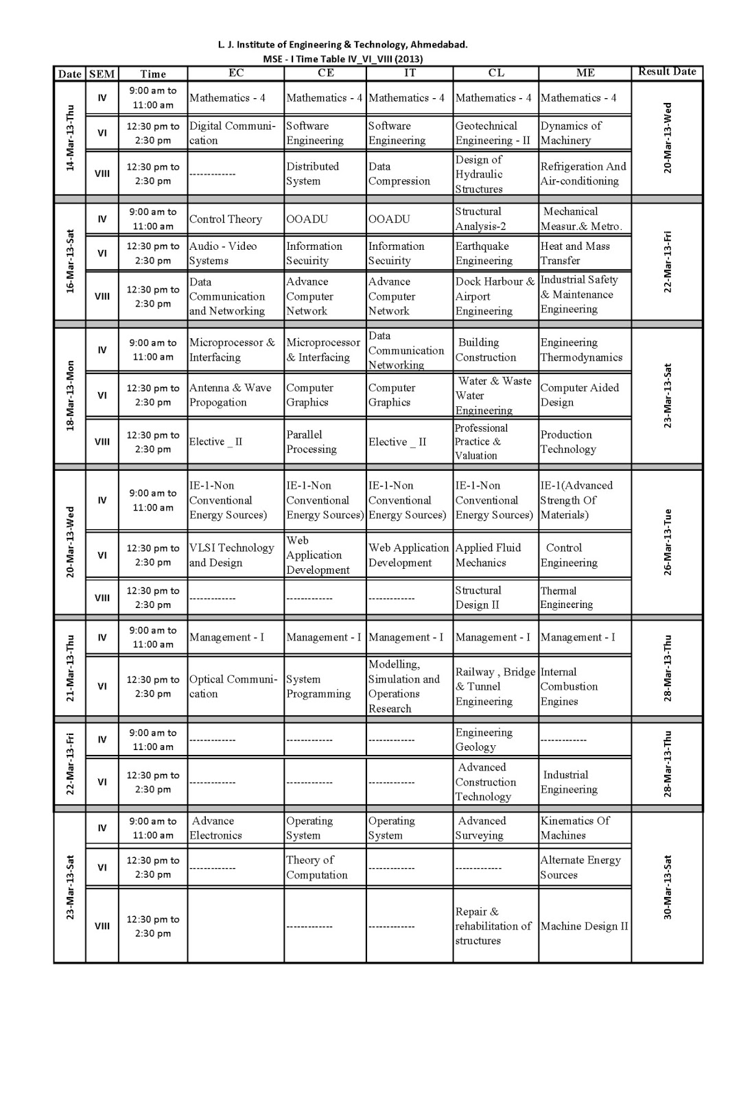 L j batch of 2014 for Gtu be 6th sem time table