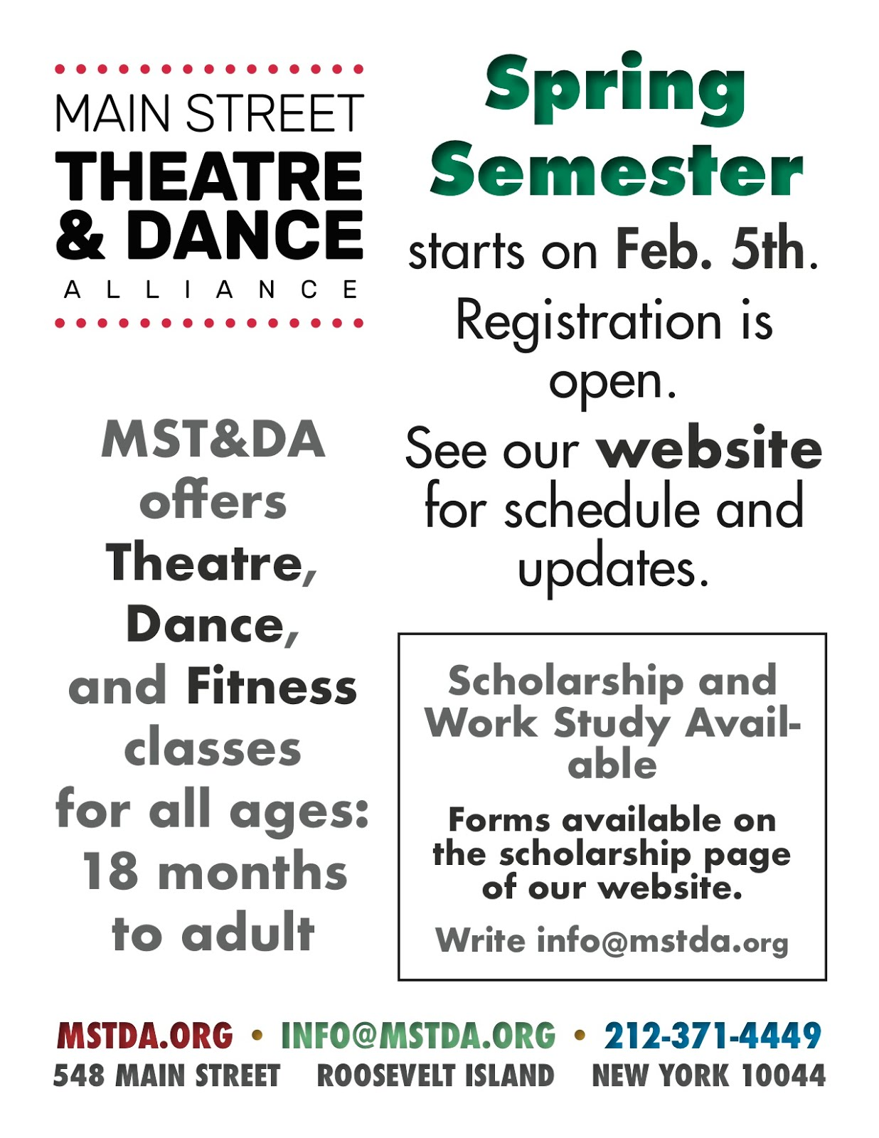 Main Street Theatre & Dance Alliance Spring Semester