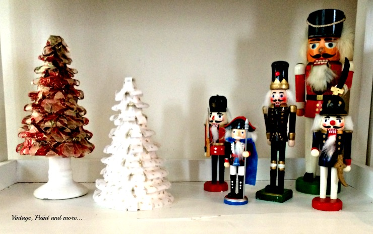Vintage, Paint and more... vintage nutcrackers used in decor with diy ribbon cone trees