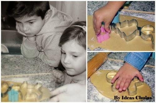 Cortando las galletas con cortapastas