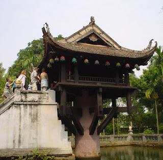 Único Coluna pagode ou One Pillar Pagoda. Hanói, Vietnã