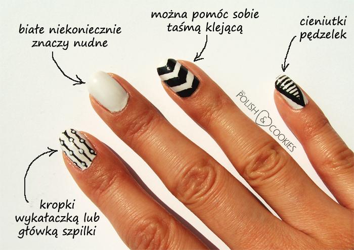Geometryczne Czarno Białe Paznokcie Polish Cookies Wzorki Na