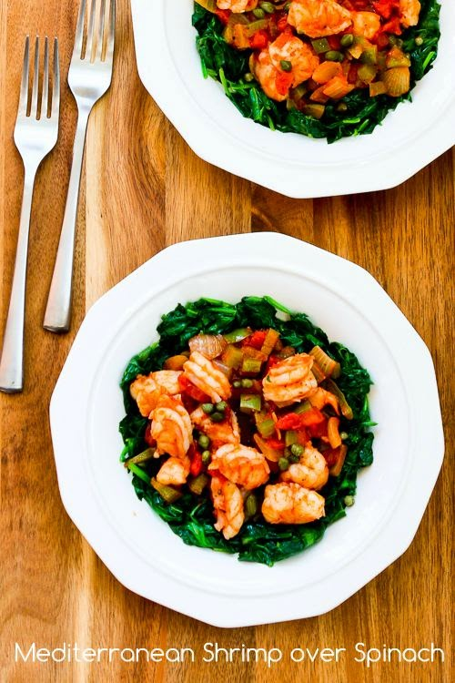 Mediterranean Shrimp over Spinach found on KalynsKitchen.com