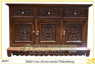 Bufet ukiran hias jati motif Palembang