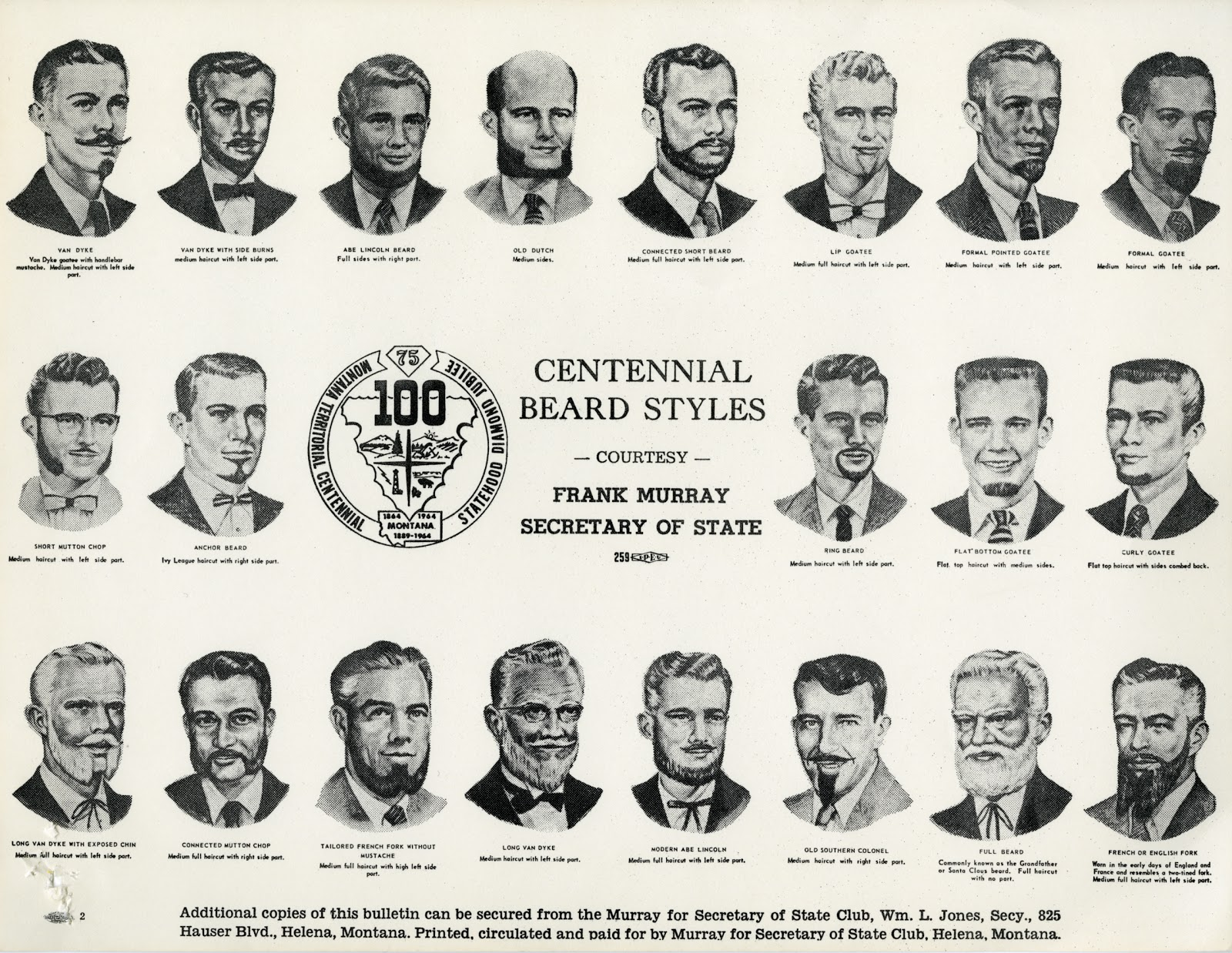 Bulletin: Centennial Beard Styles Courtesy of Frank Murray Secretary of State, Montana Territorial Centennial Statehood Diamond Jubilee