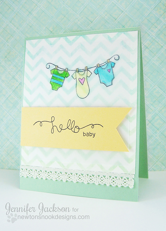Winged Wishes Baby Card by Newton's Nook Designs