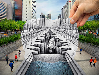 Space shuttles taking off from the heart of Seoul, South Korea - Pencil vs Camera by Ben Heine