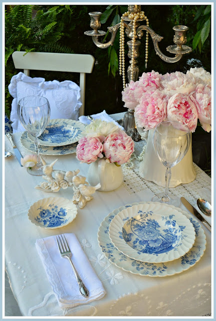 blue and white tablescape, peonies