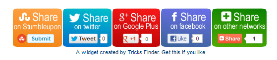 Tricks Finder Social Sharing Widget