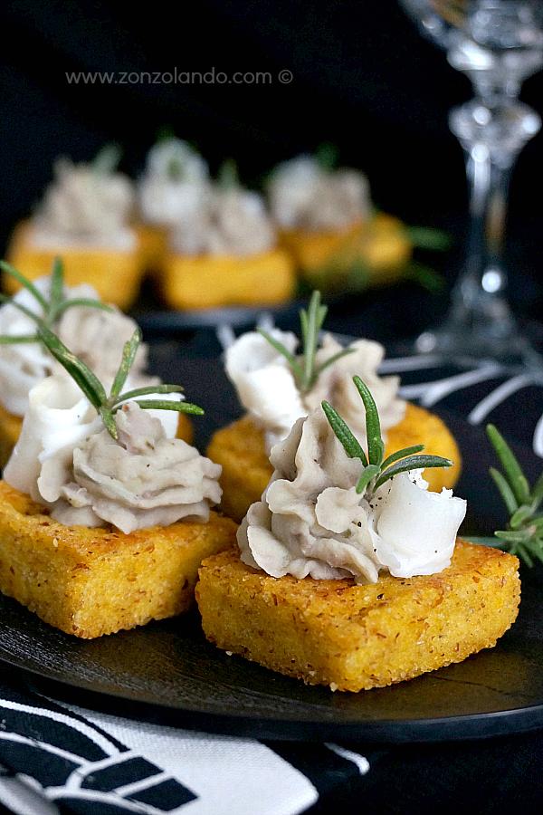 Crostini di polenta con lardo e crema di fagioli ricetta antipasto cornflour crostini with lardo and bean dip recipe